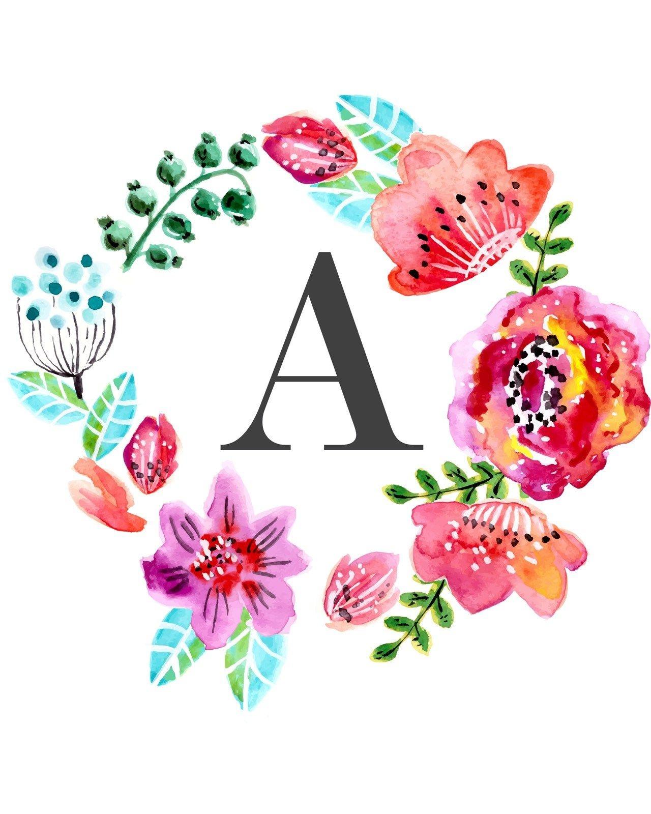 Floral Monogram Free Printable   Tags :: Letters And Numbers - Free Printable Flower Letters