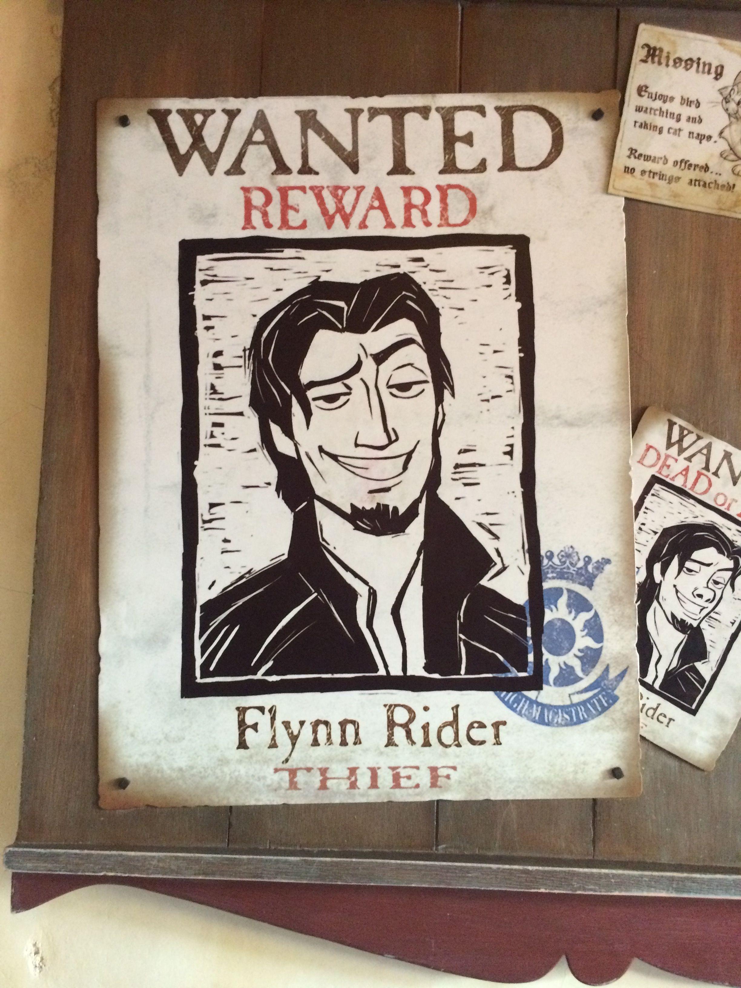 Flynn Rider (Eugene Fitzherbert) Wanted Poster In Disneyland - Free Printable Flynn Rider Wanted Poster