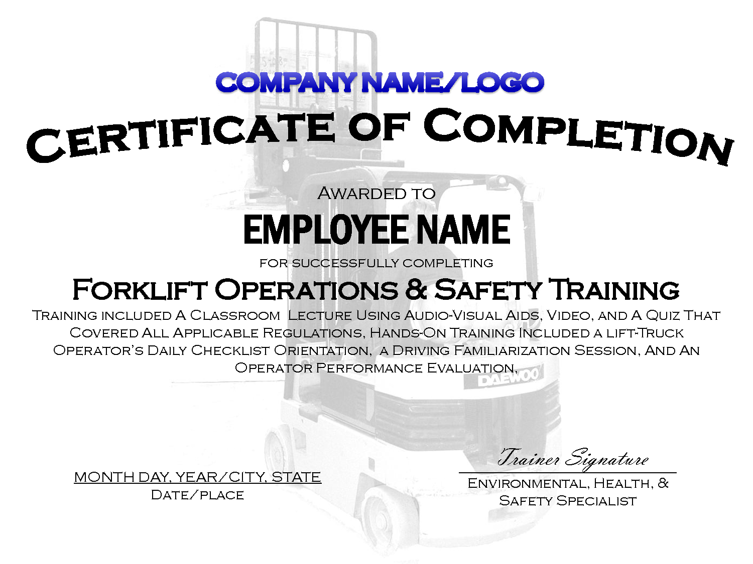 Forklift Certification Certificate Template - Demir.iso-Consulting.co - Free Printable Forklift Certification Cards