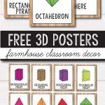Free 2D Shape Posters   3D Shape Posters   Farmhouse Classroom Decor   3D Shape Bingo Free Printable