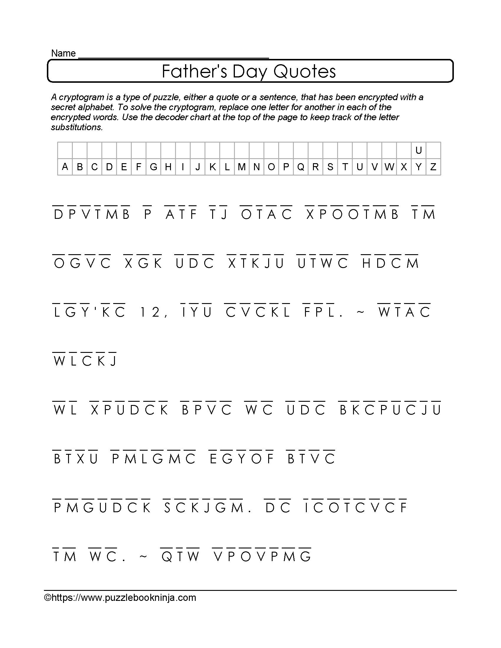 Free And Printable Father's Day Cryptogram. Quotes About Dad - Free Printable Cryptograms With Answers