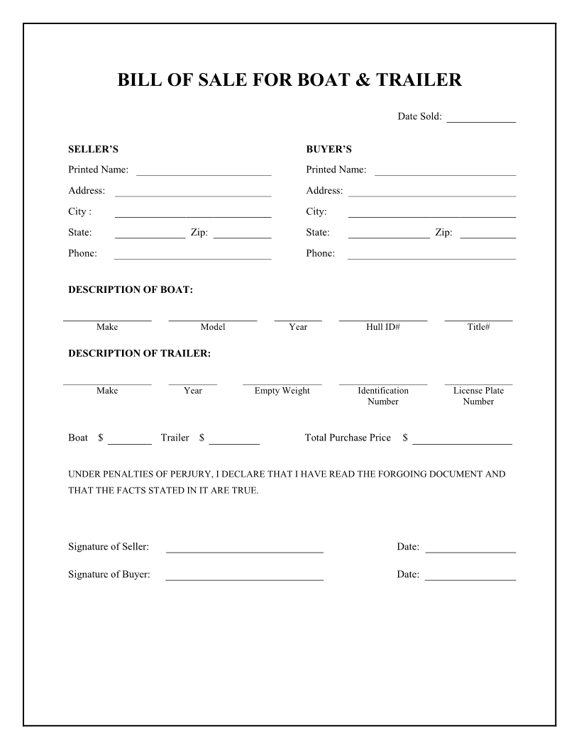Free Boat & Trailer Bill Of Sale Form - Download Pdf   Word - Free Printable Generic Bill Of Sale