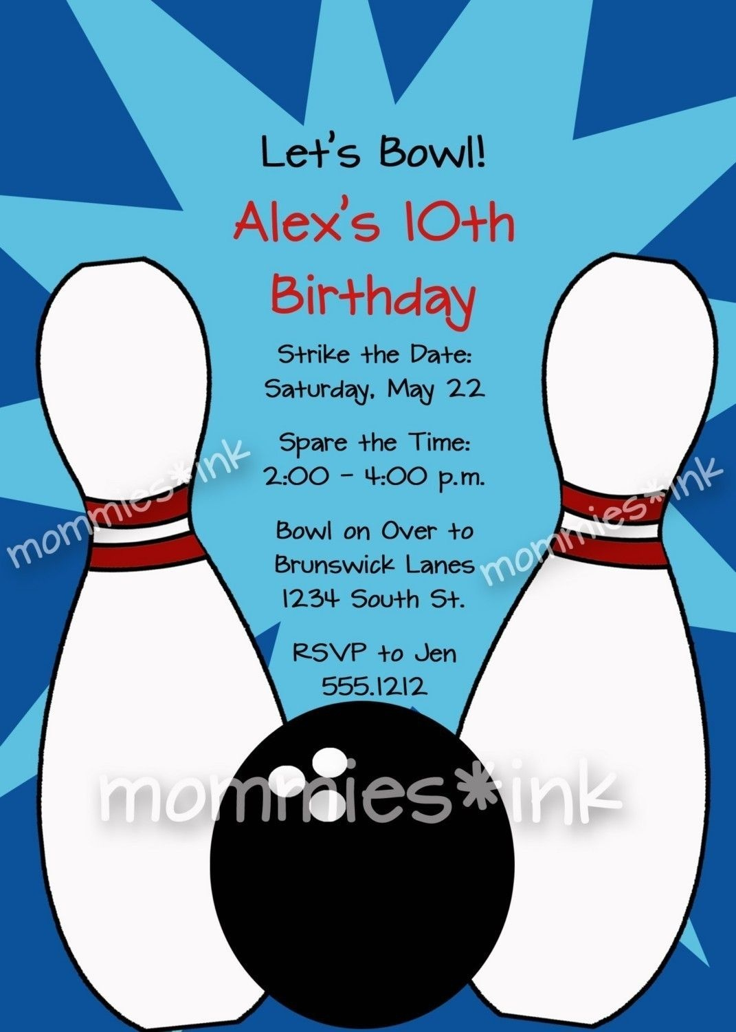 Free Bowling Party Invitations Templates With Blue Background Colors - Free Printable Bowling Invitation Templates