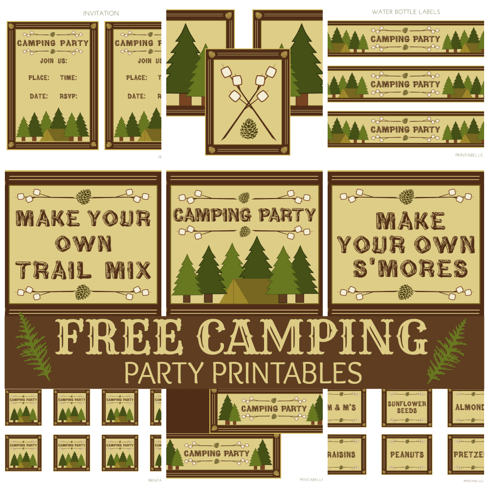 Free Camping Party Printables From Printabelle | Catch My Party - Free Printable Camping Signs