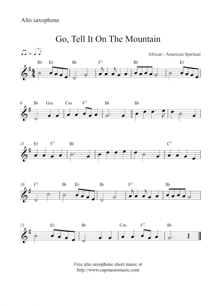 Free Printable Alto Saxophone Sheet Music