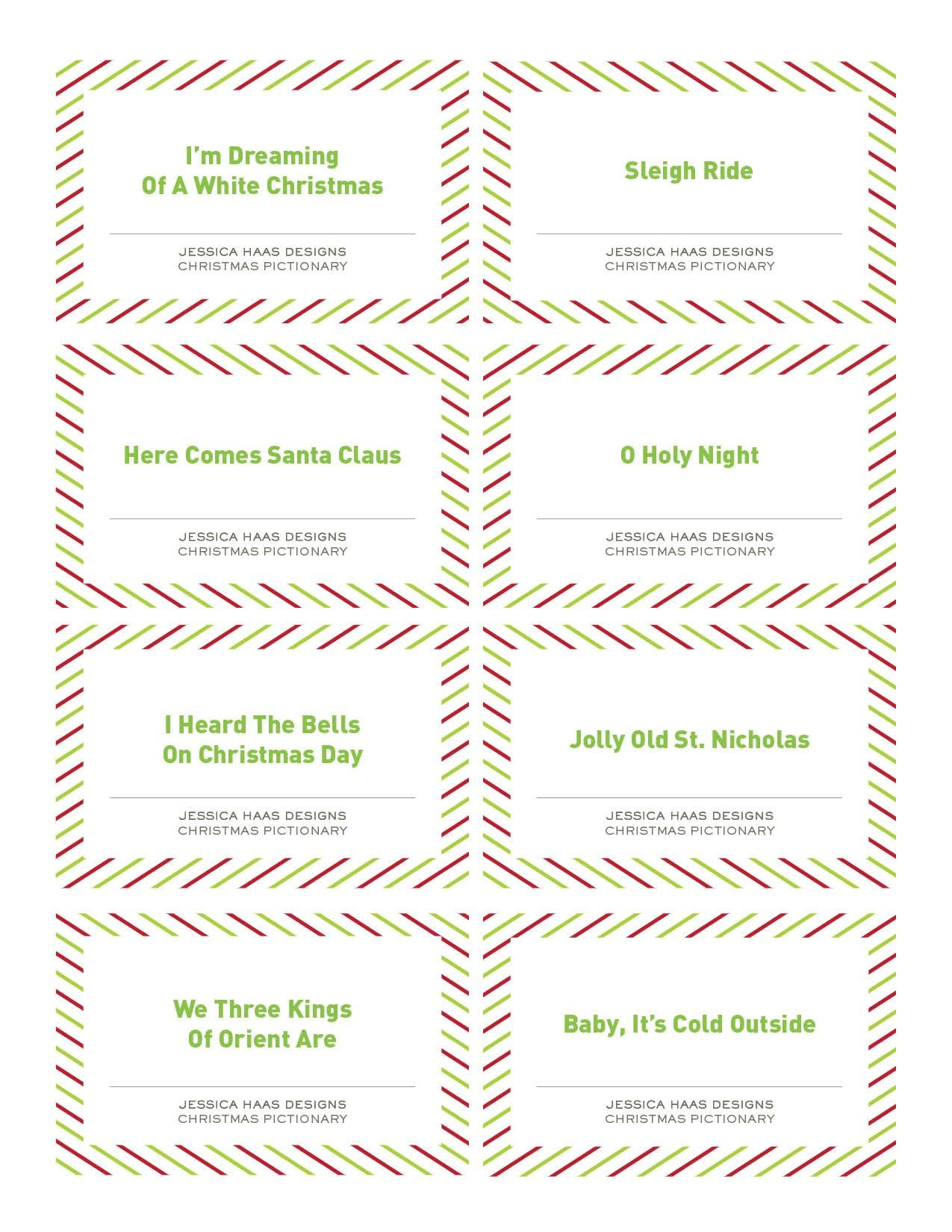 Free Christmas Pictionary Game   Holiday Ideas   Christmas Games - Free Printable Christmas Pictionary Cards