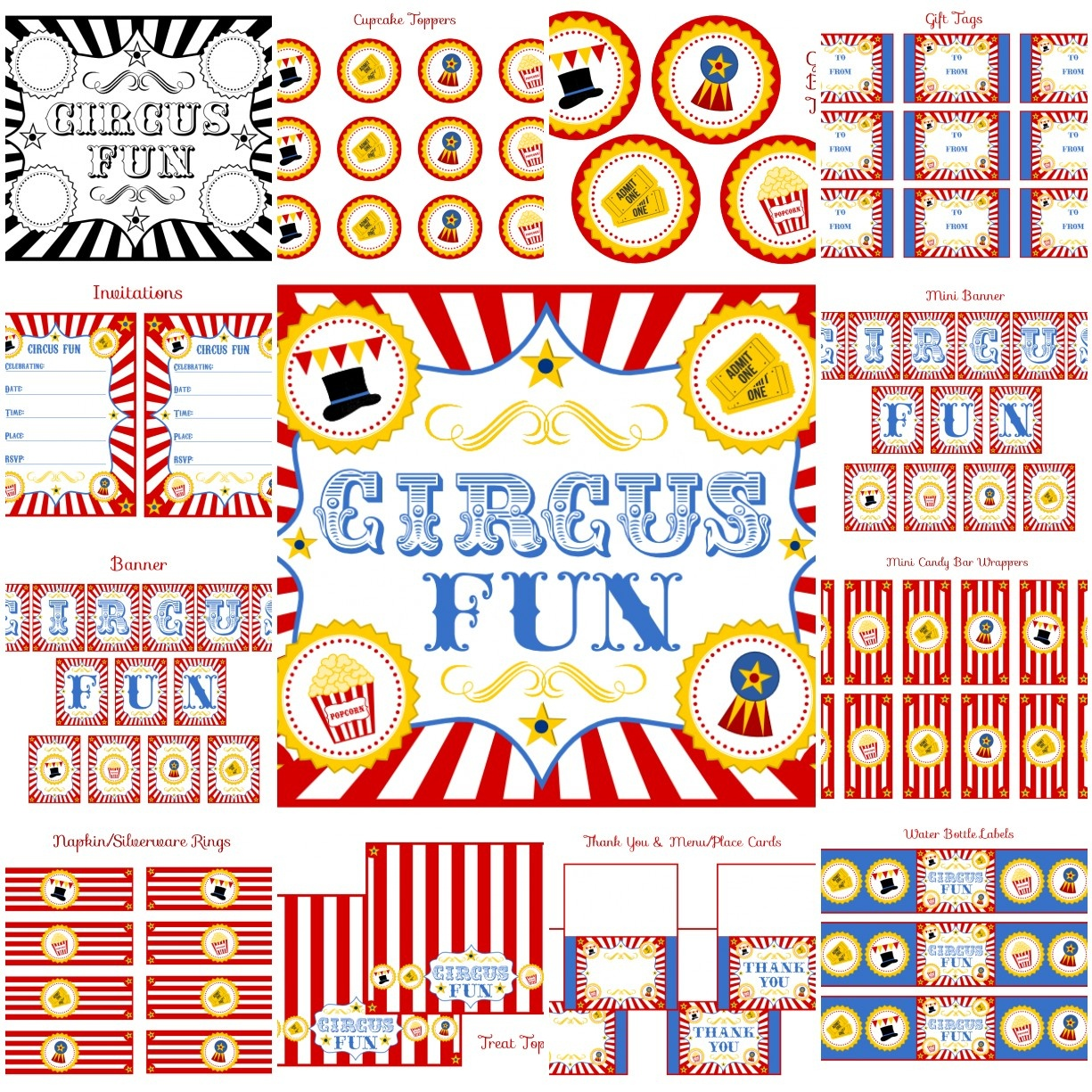 Free Circus Birthday Party Printables From Printabelle   Catch My Party - Free Printable Carnival Decorations