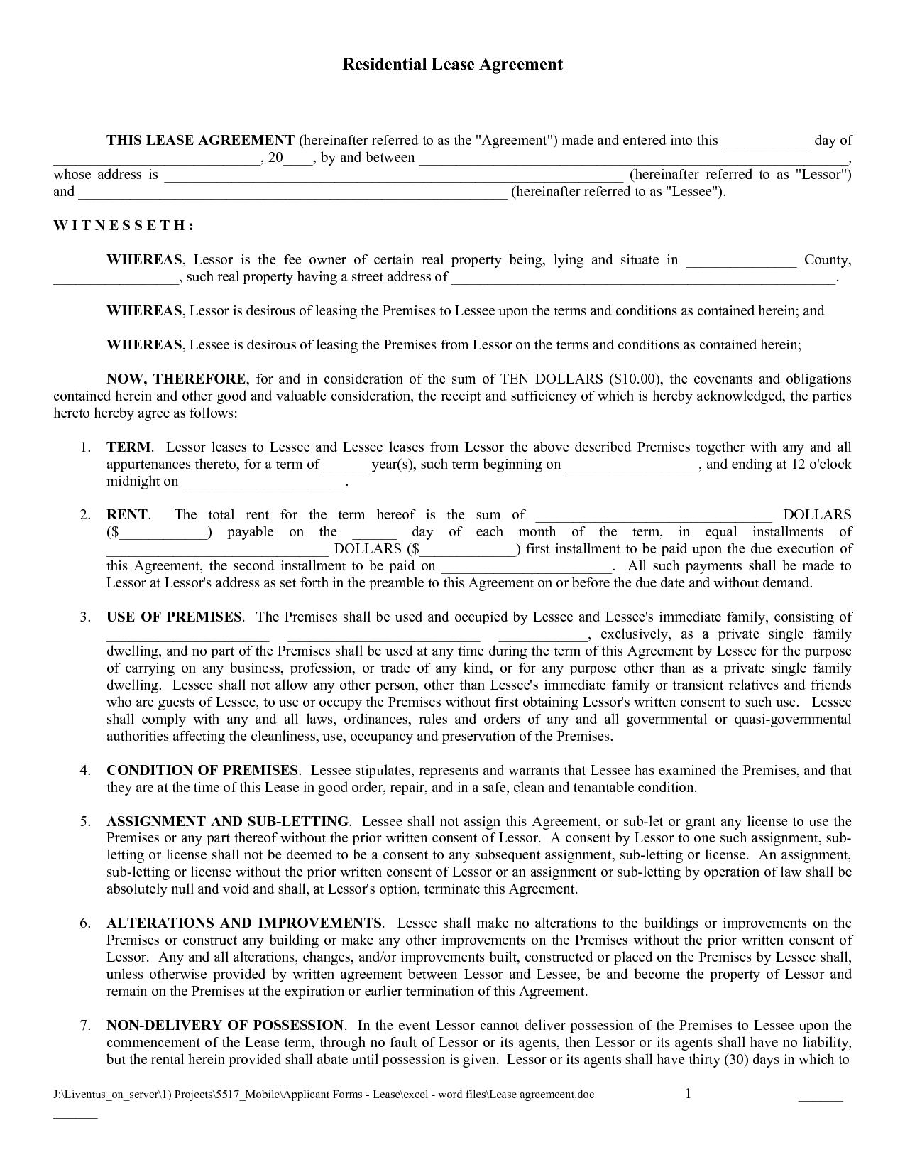 Free Copy Rental Lease Agreement   Free Printable Lease Agreement - Blank Lease Agreement Free Printable
