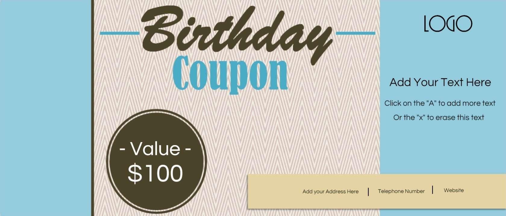 Free Custom Birthday Coupons - Customize Online & Print At Home - Free Printable Blank Birthday Coupons