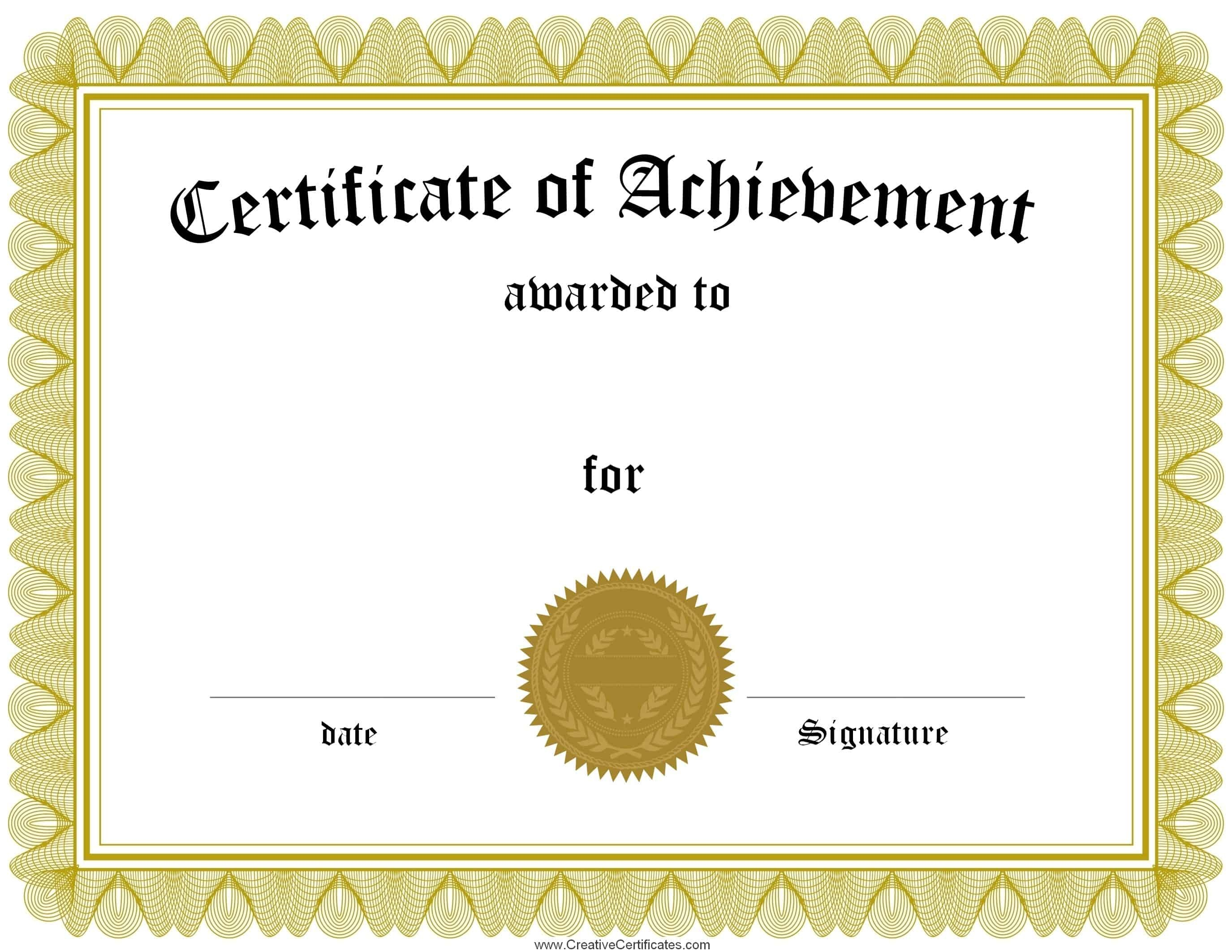 Free Customizable Certificate Of Achievement - Free Printable Blank Certificate Templates