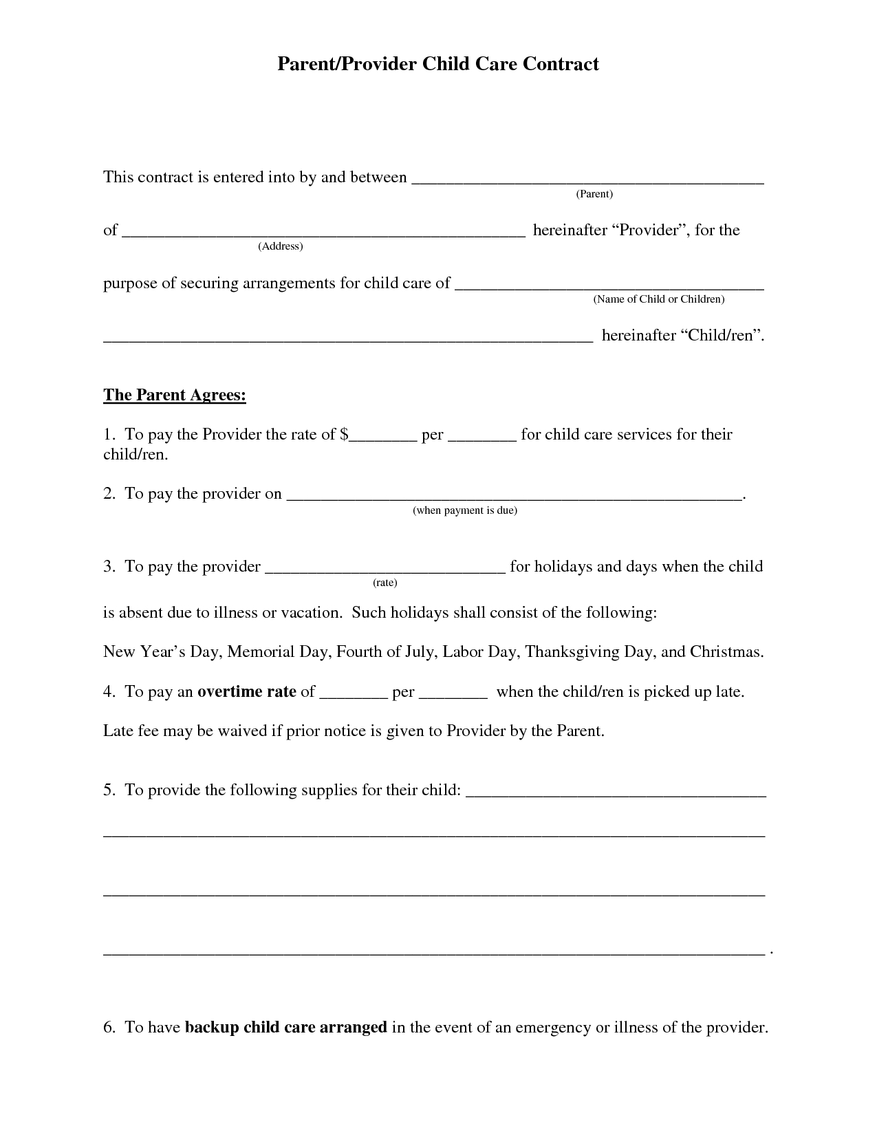 Free Daycare Contract Forms   Daycare Forms   Daycare Contract, Home - Free Printable Daycare Forms
