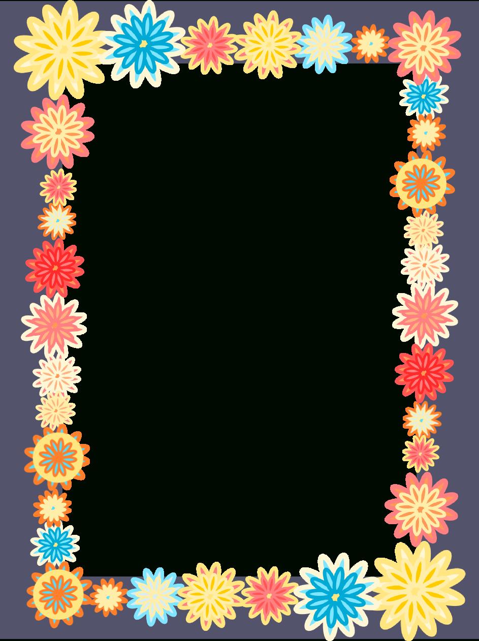 Free Digital Scrapbooking Flower Frames – Colorful Flower Frame Png - Free Printable Frames For Scrapbooking