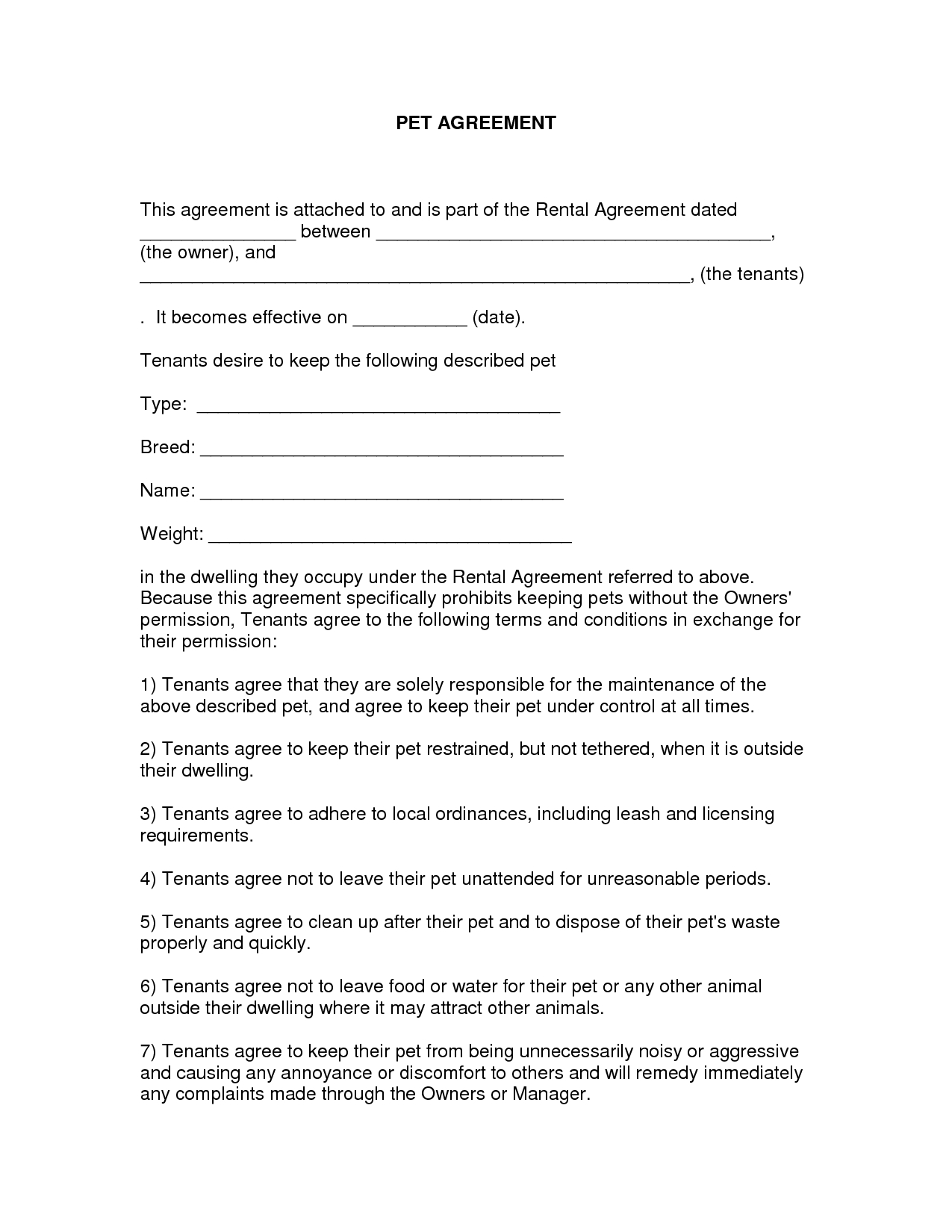 Free Easy Lease Agreement To Print   Free Printable Lease Agreement - Blank Lease Agreement Free Printable