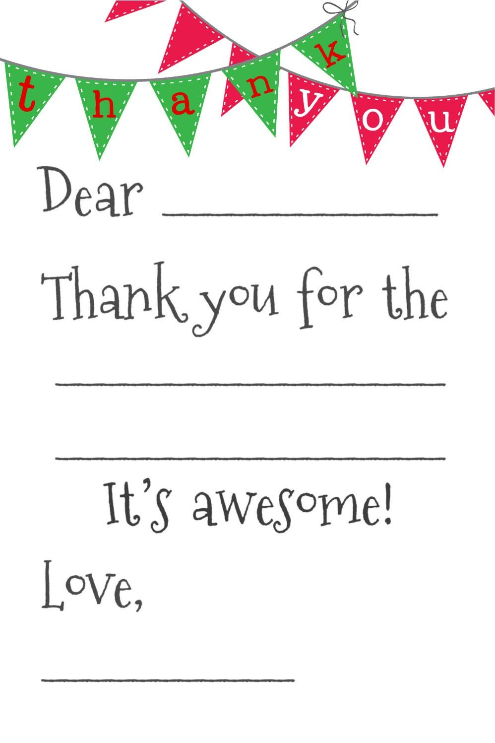 Free Fill-In-The-Blank Thank-You Cards   Printables   Free Thank You - Free Printable Thank You Cards For Soldiers