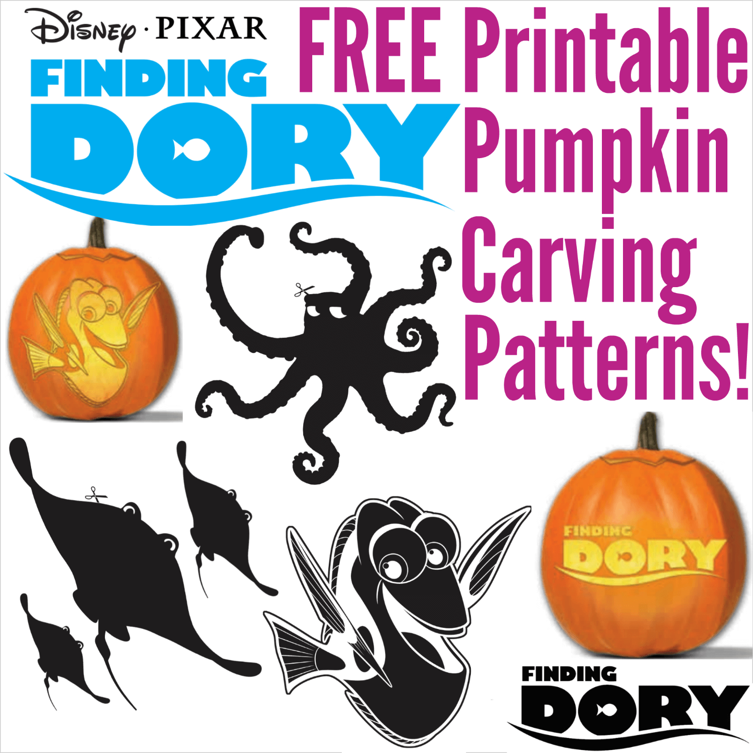 Free Finding Dory Pumpkin Carving Patterns To Print! - Halloween Pumpkin Carving Stencils Free Printable