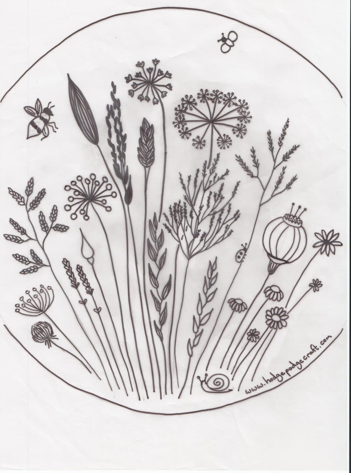 Free Floral Meadow Embroidery Pattern - Free Printable Embroidery Patterns
