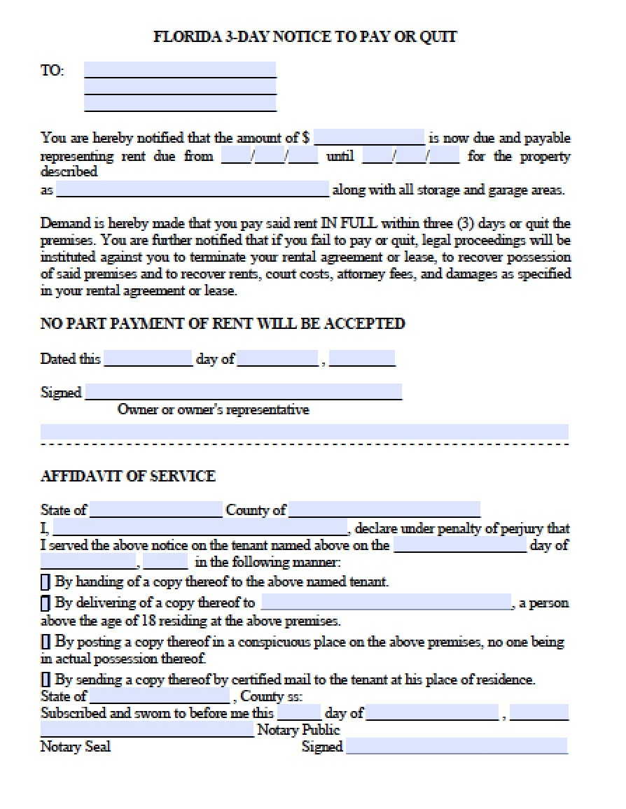 Free Florida Eviction Notice Template   3 Day Notice To Pay Or Quit - Free Printable 3 Day Eviction Notice