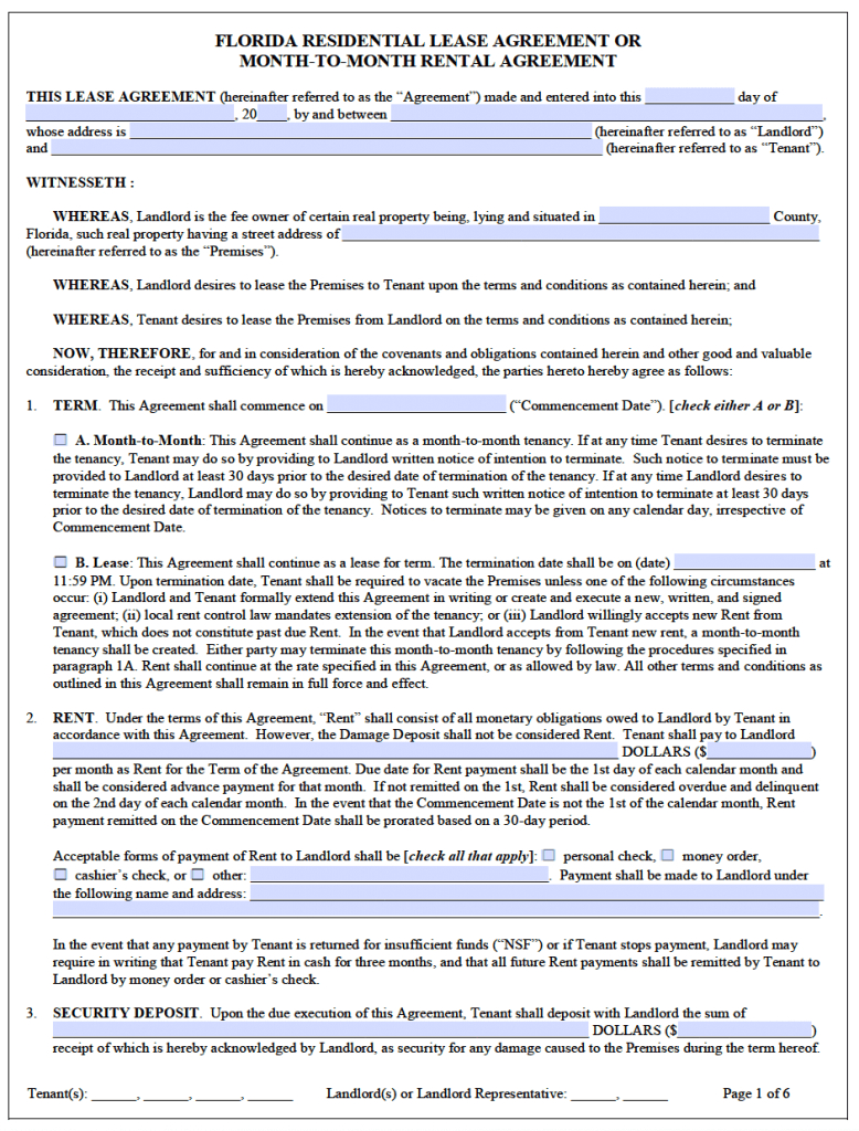 Free Florida Residential Lease Agreement Template – Pdf – Word - Free Printable Florida Residential Lease Agreement