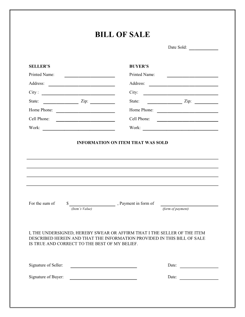 Free General Bill Of Sale Form - Download Pdf   Word - Free Printable Generic Bill Of Sale