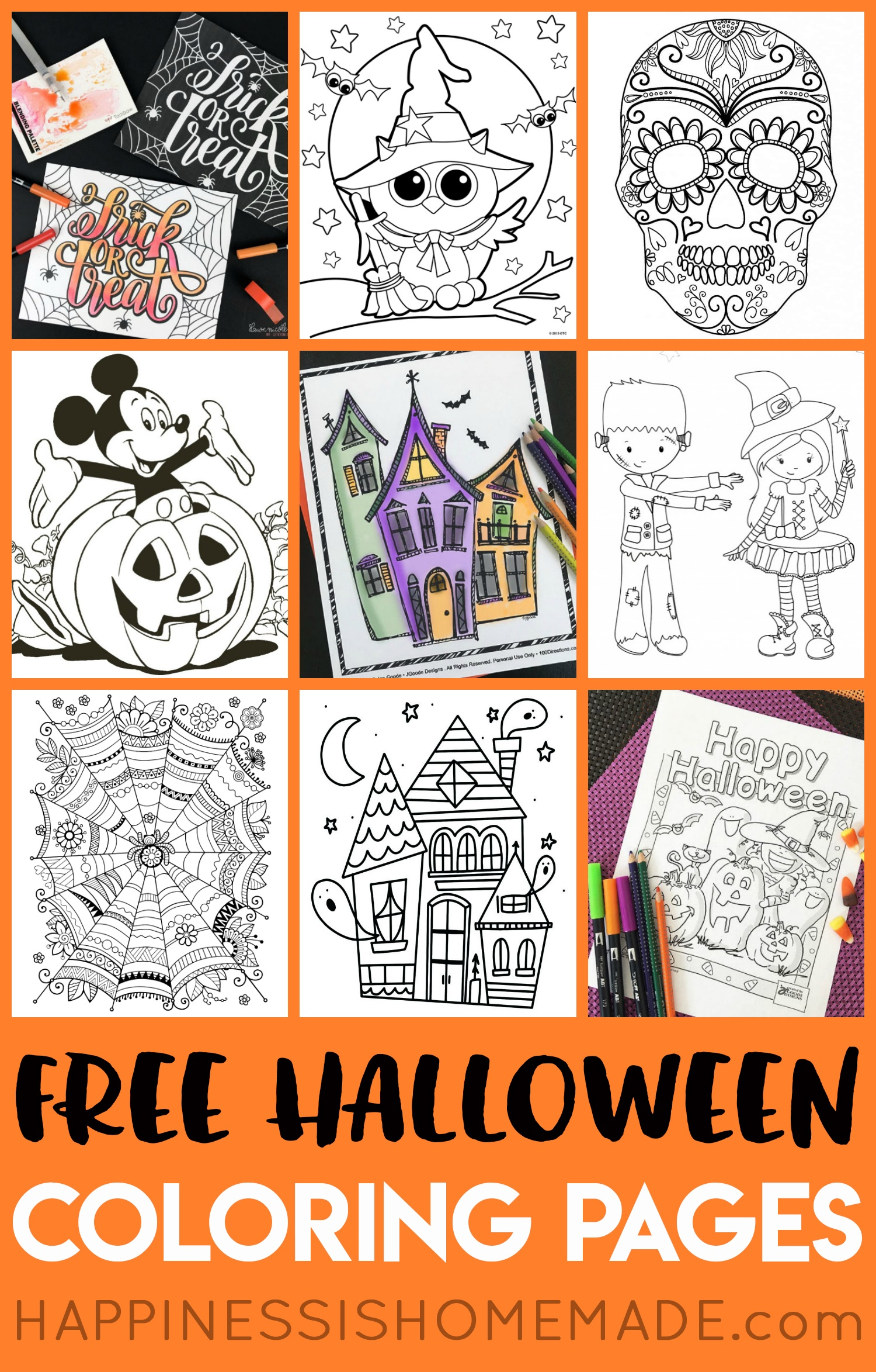 Free Halloween Coloring Pages For Adults & Kids - Happiness Is Homemade - Free Printable Halloween Cards