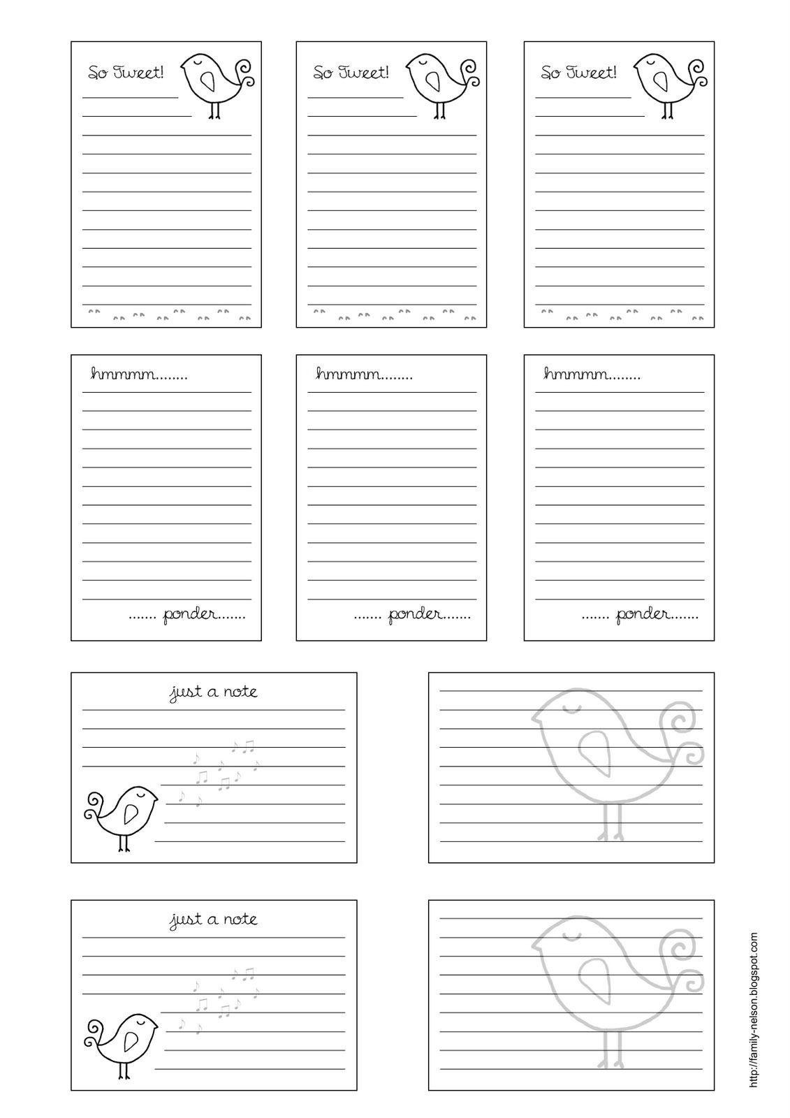 Free Journaling Printables | Free Printable Journalling Cards---Also - Free Printable Baby Journal Pages