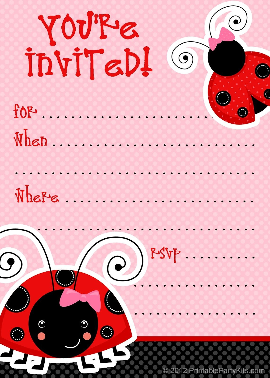 Free Ladybug Party Invitations From Printablepartyinvitations - Free Printable Ladybug Invitations