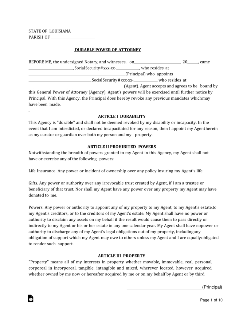 Free Louisiana Power Of Attorney Forms - Pdf   Word   Eforms – Free - Free Printable Medical Forms Kit