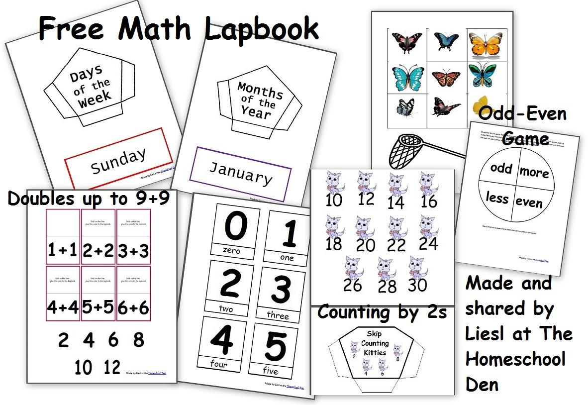 Free Math Lapbook (Prek, K, 1St Grade) - Homeschool Den - Free Printable Lapbook Templates