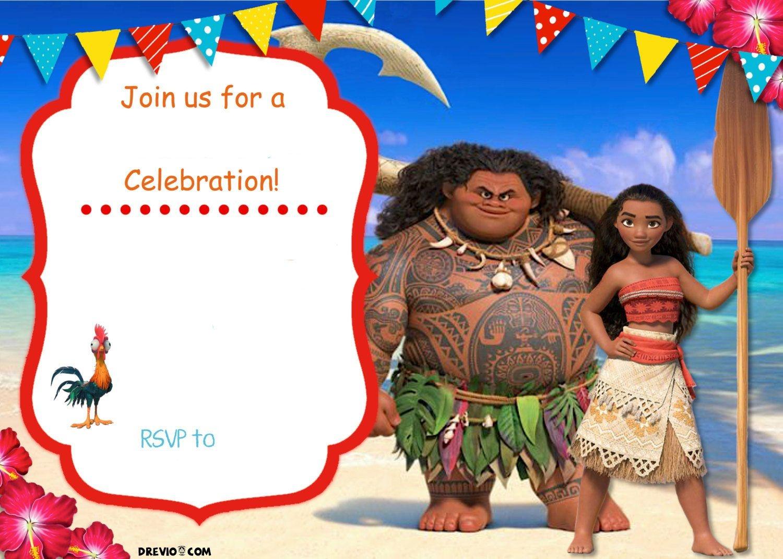 Free Moana Birthday Invitation Template   Zoey 4Th Birthday - Free Moana Printable Invitations
