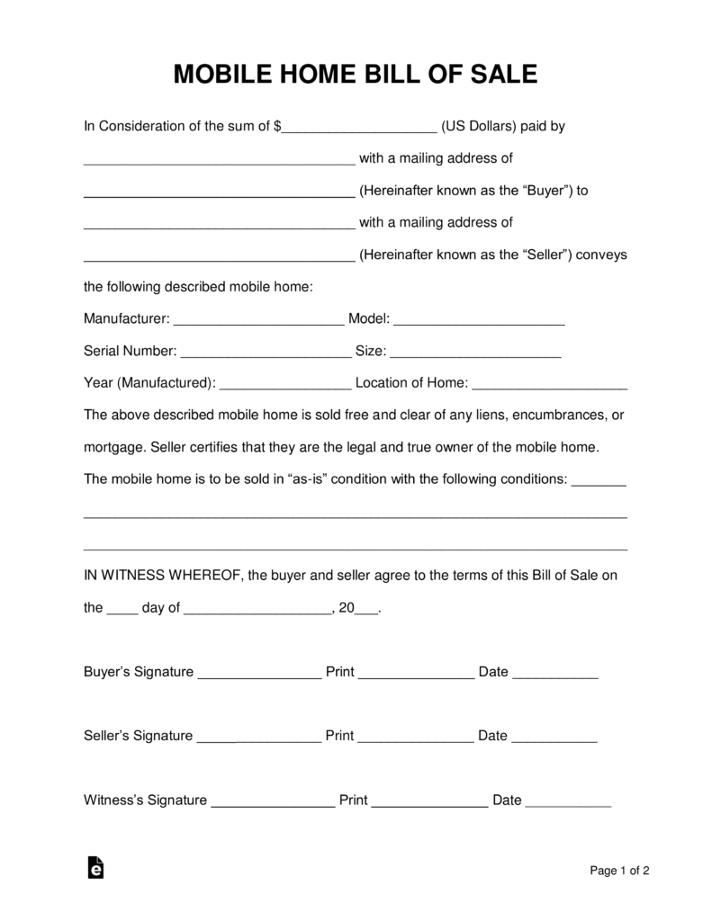 Free Mobile (Manufactured) Home Bill Of Sale Form - Word | Pdf - Free Printable Bill Of Sale For Mobile Home