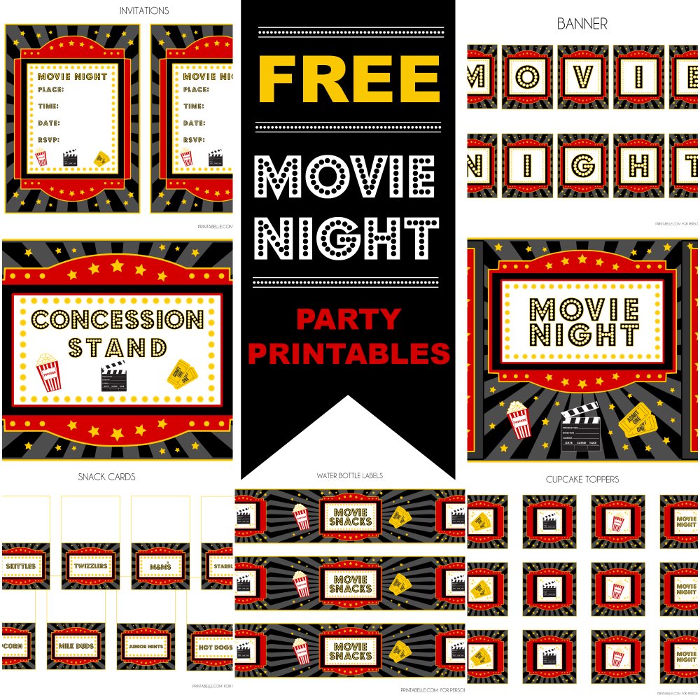 Free Movie Night Party Printablesprintabelle   Catch My Party - Free Concessions Printable