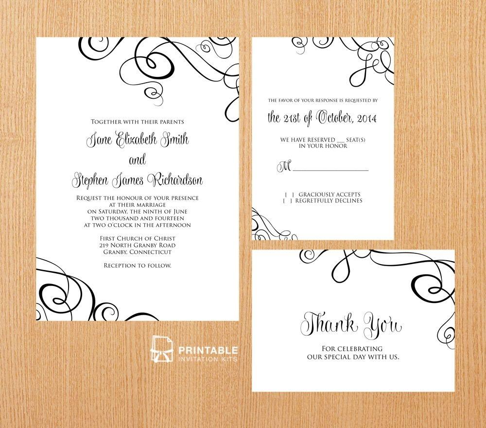 Free Pdf Templates. Easy To Edit And Print At Home. Elegant Ribbon - Free Printable Rsvp