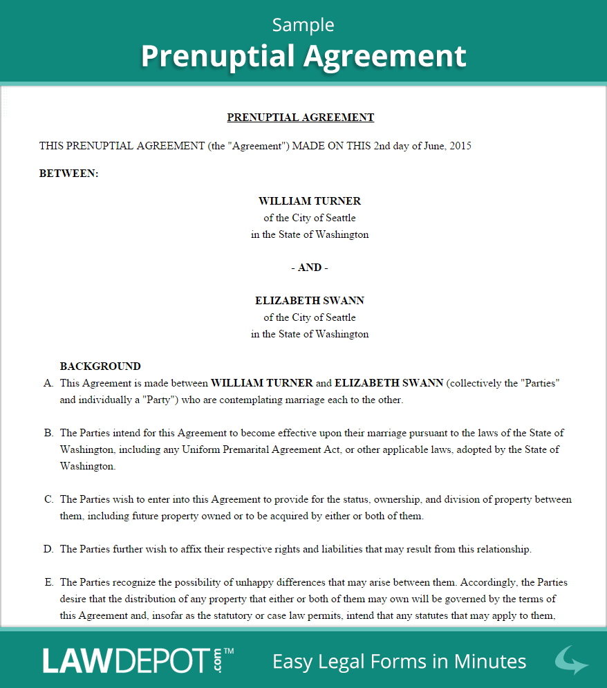 Free Prenuptial Agreement - Create, Download, And Print   Lawdepot (Us) - Free Printable Prenuptial Agreement Form