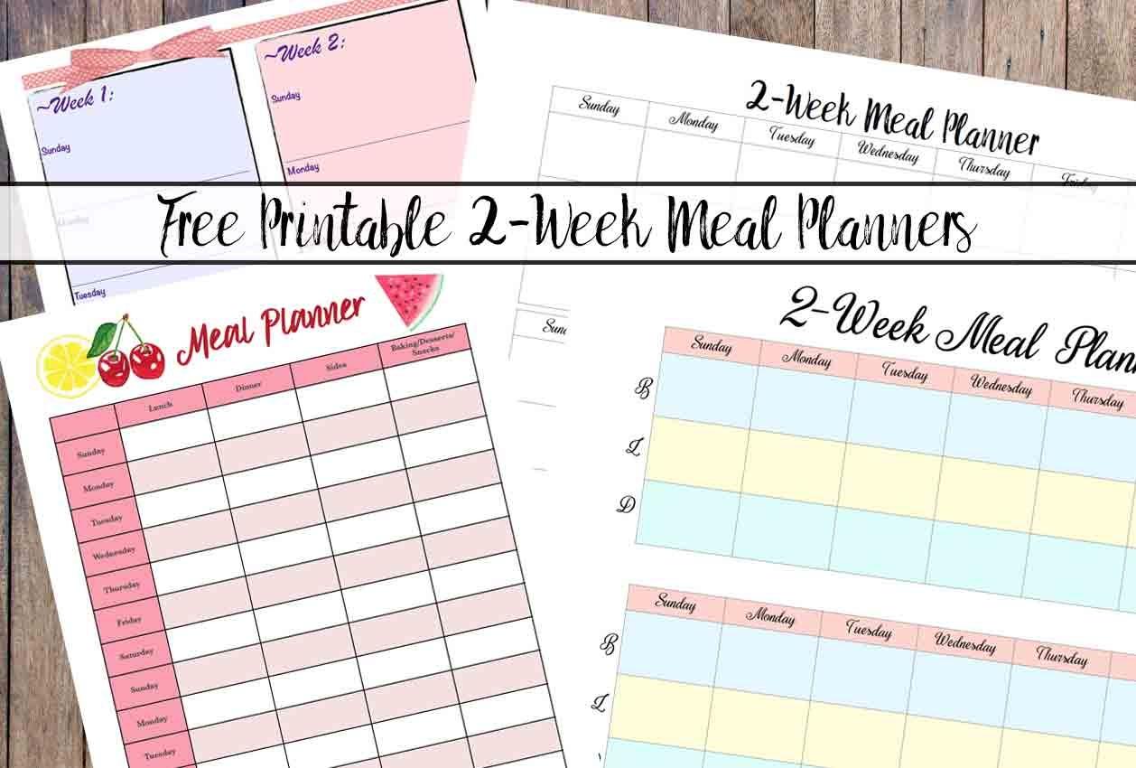 Free Printable 2-Week Meal Planners: 4 Designs - Free Printable Sud