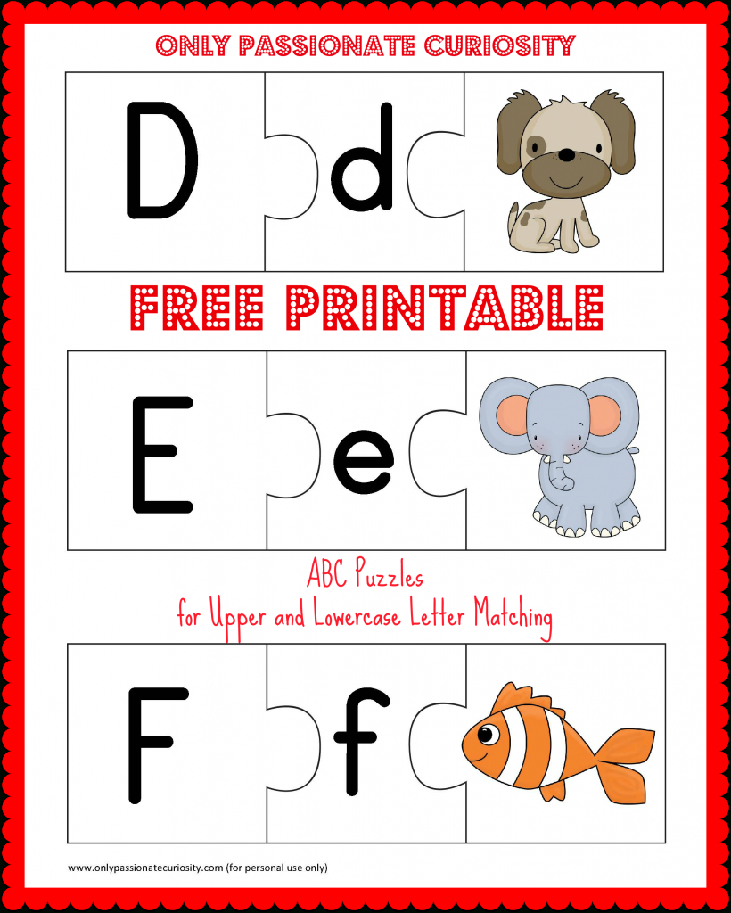 Free Printable Abc Puzzles | School Is Fun | Letter Matching, Upper - Free Printable Lower Case Letters