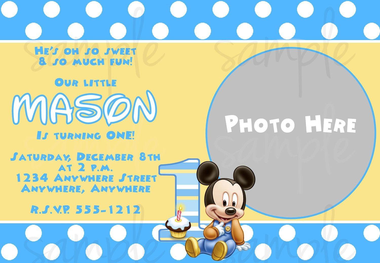 Free Printable Baby Mickey Mouse 1St Birthday Invitations   Jakes - Free Printable Baby Mickey Mouse Birthday Invitations