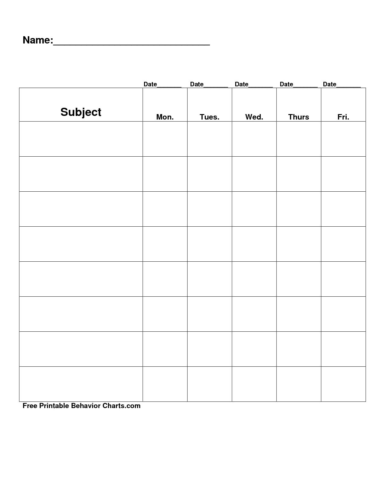 Free Printable Blank Charts   Free Printable Behavior Charts Com - Free Printable Behavior Charts For Elementary Students