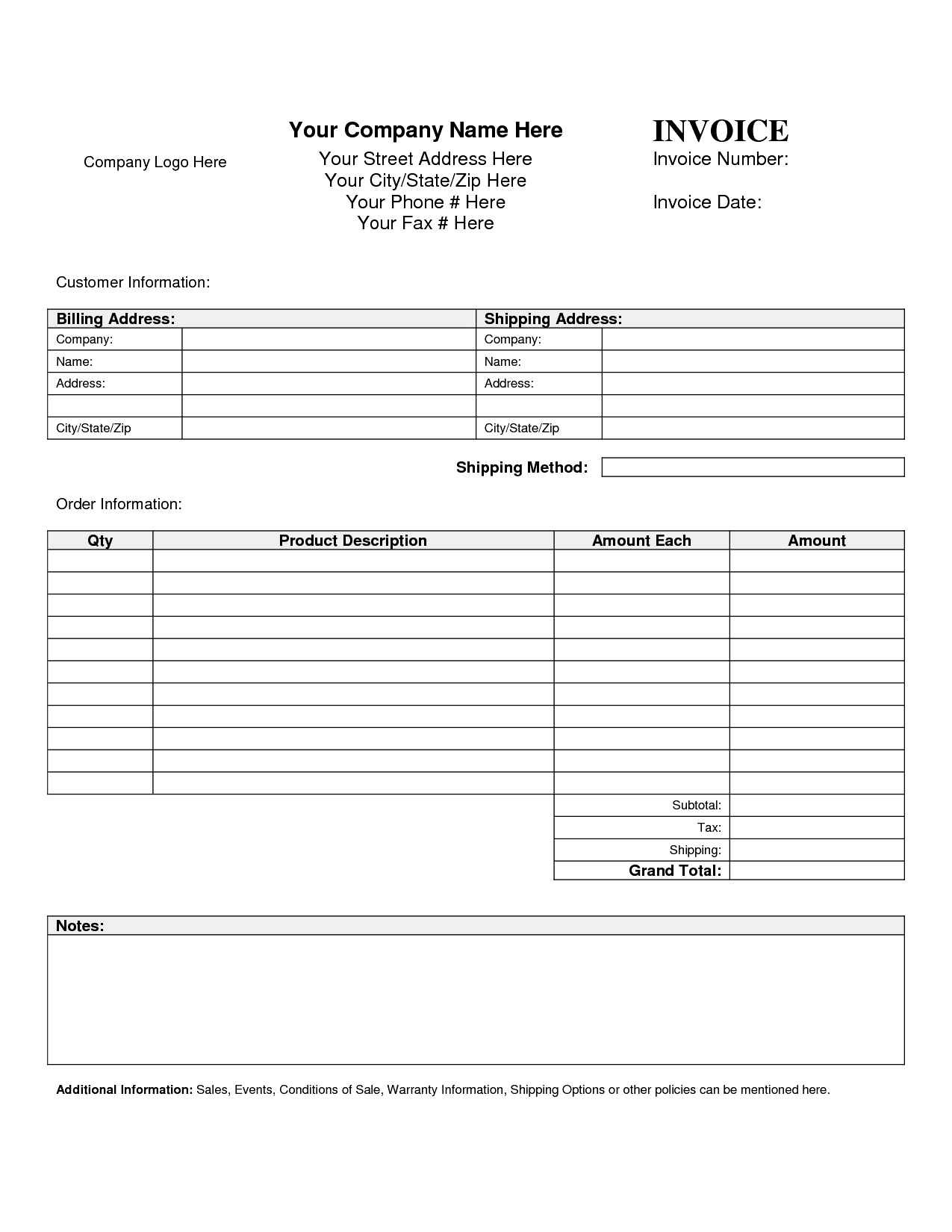 Free Printable Blank Invoice Sheet Templates Word Template Sample - Free Printable Customer Information Sheets