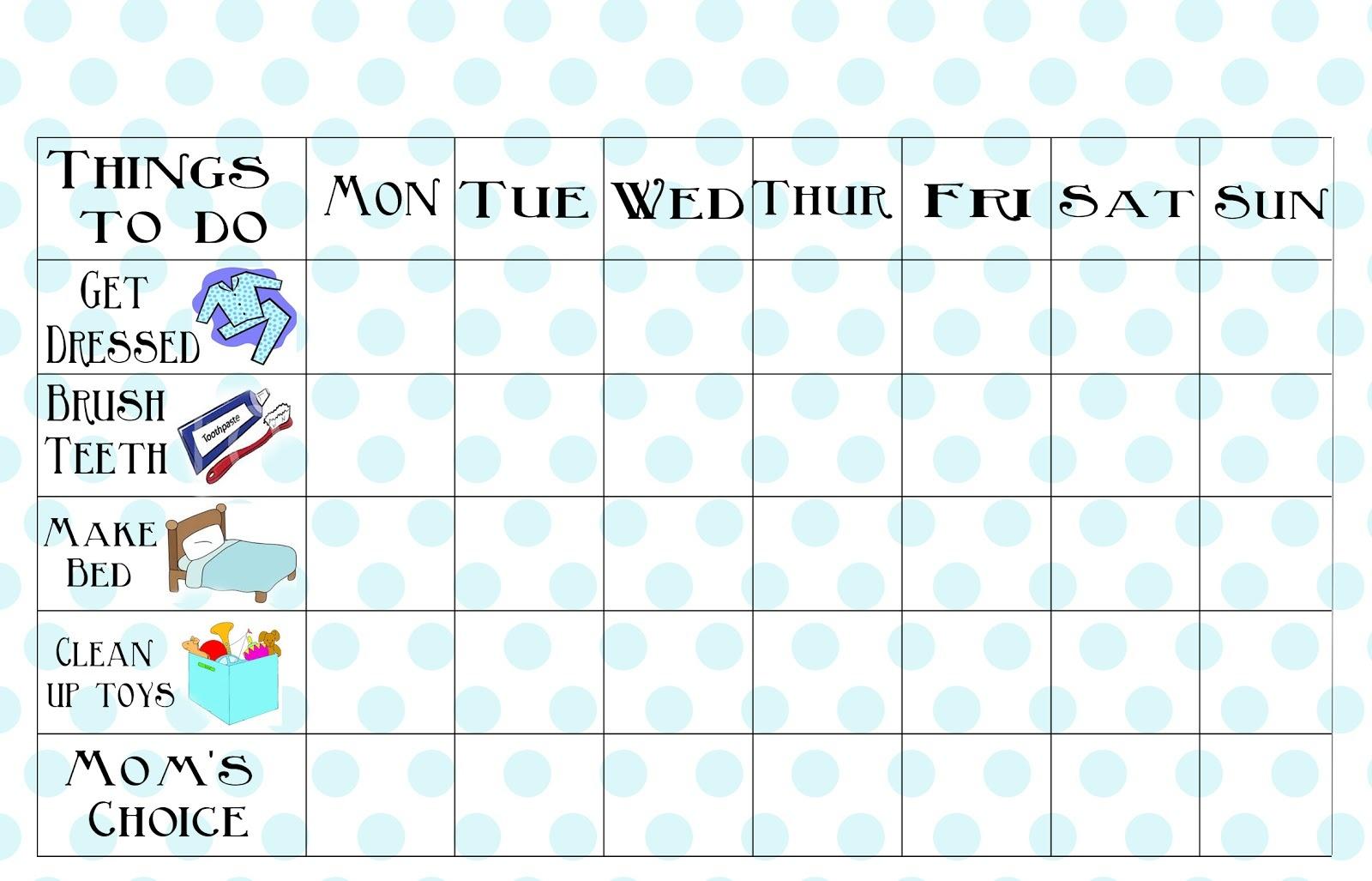 Free Printable Chore Chart - Free Printable To Do Charts