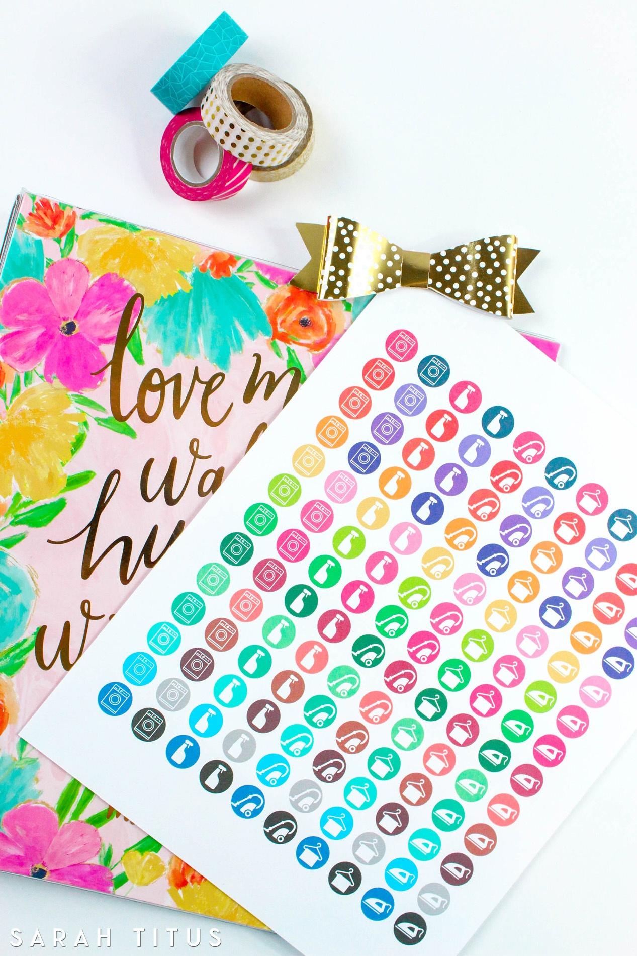 Free Printable Cleaning Stickers - Sarah Titus - Chore Stickers Free Printable