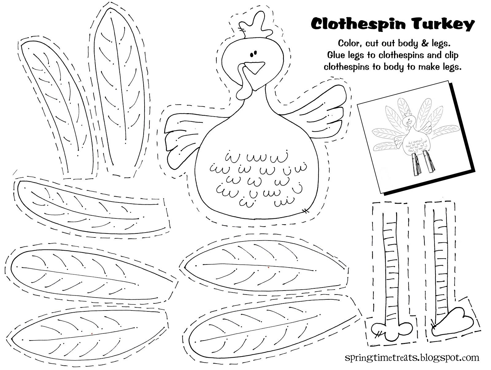 Free Printable - Clothespin Turkey. Easy Craft Idea For The Kids - Free Printable Thanksgiving Crafts For Kids