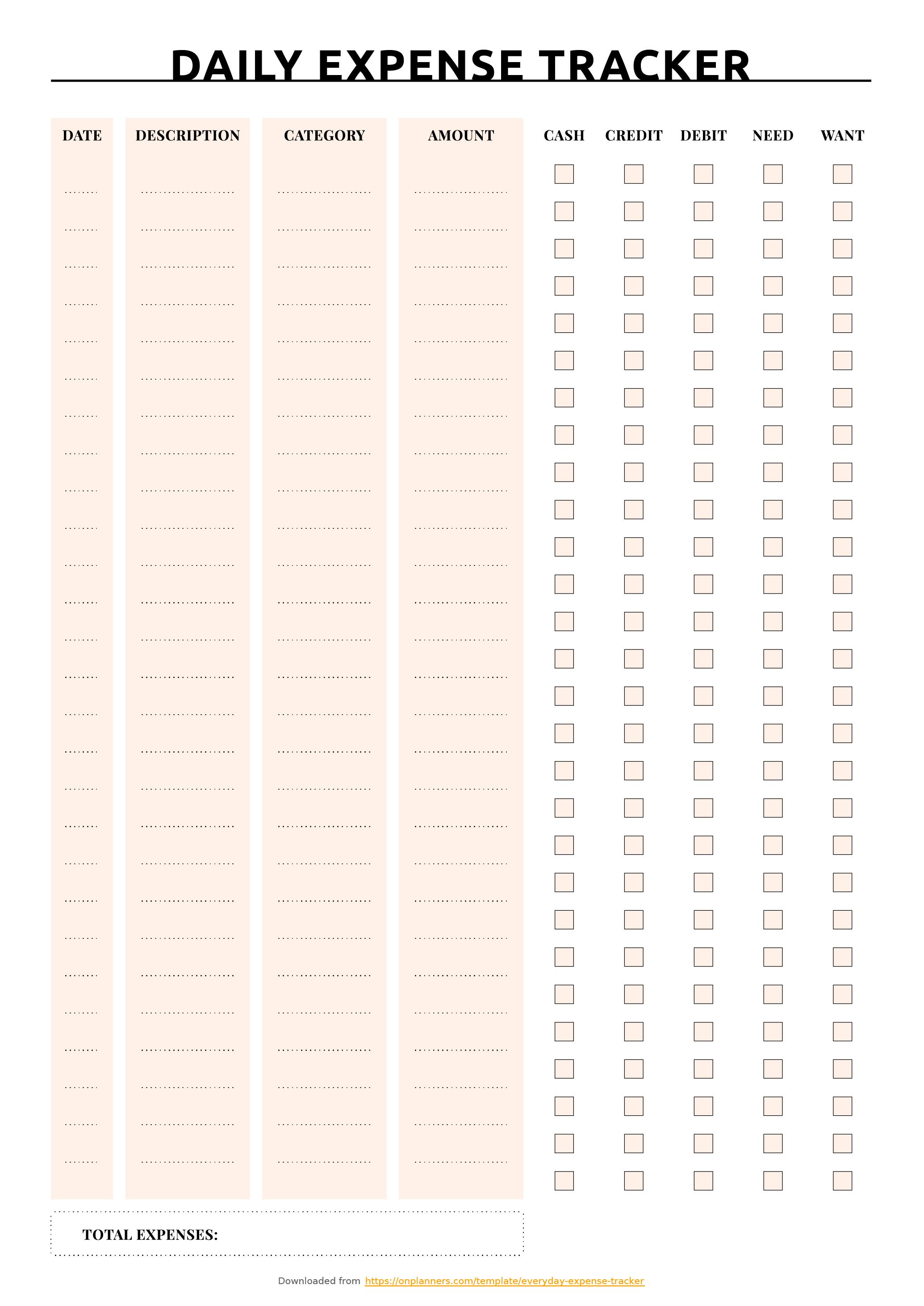 Free Printable Everyday Expense Tracker Pdf Download - Free Printable Daily Expense Tracker
