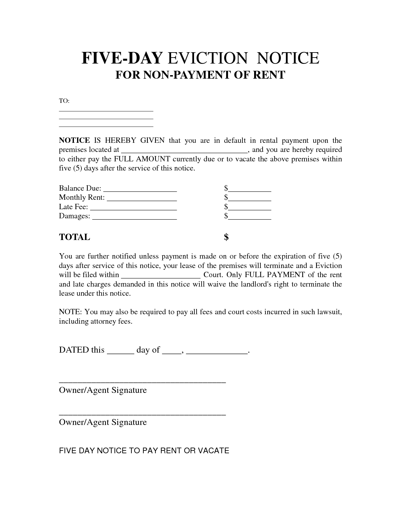 Free Printable Eviction Notice Letter   Bagnas - 5 Day Eviction - Free Printable 3 Day Eviction Notice