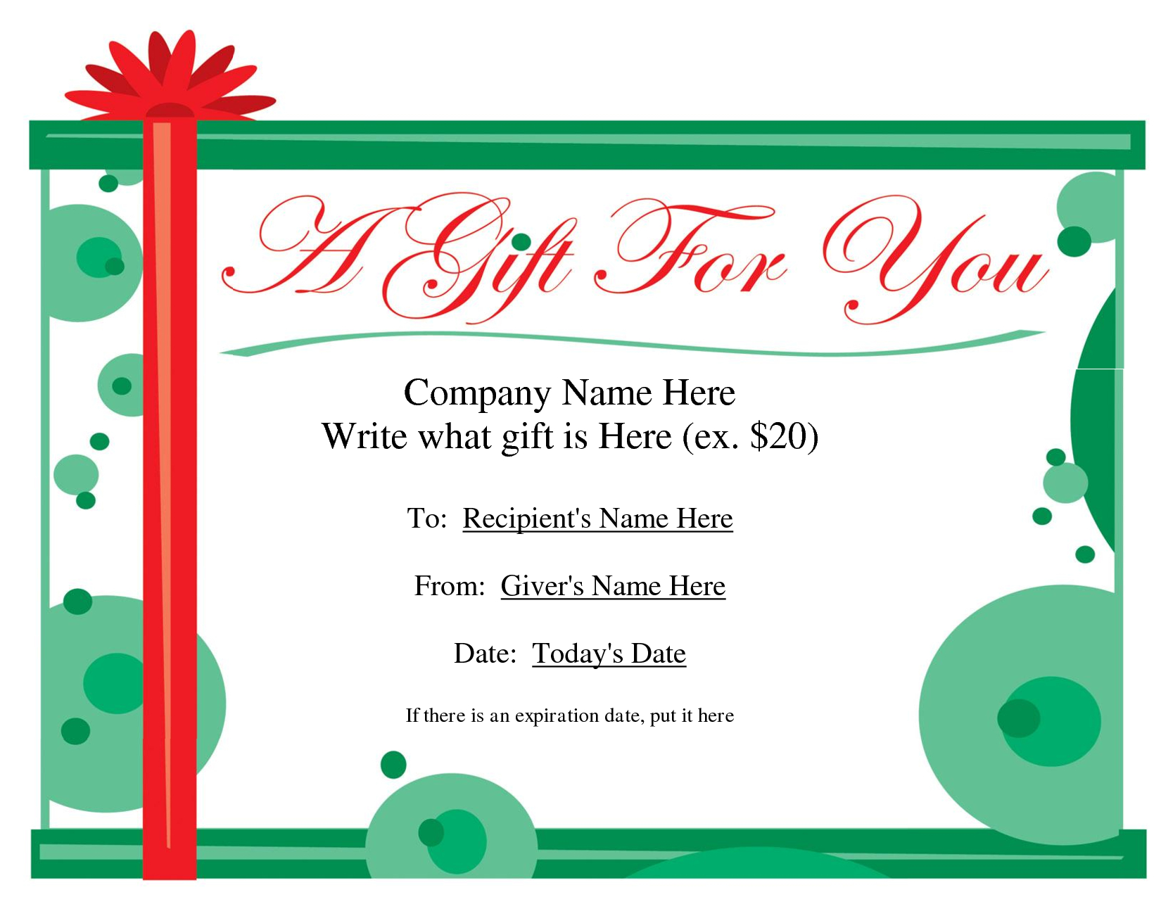 Free Printable Gift Certificate Template   Free Christmas Gift - Free Printable Gift Coupons