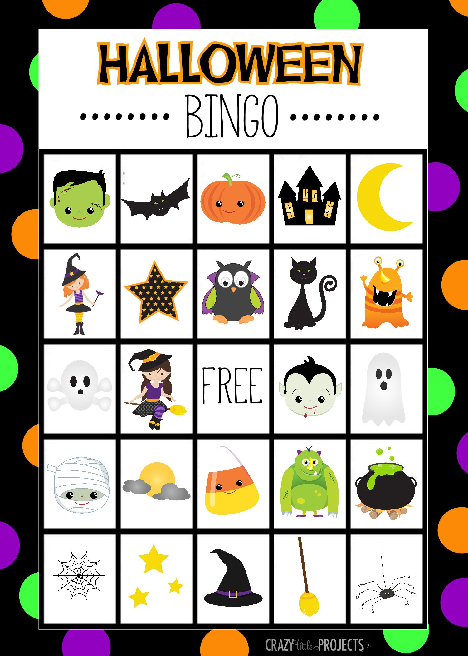 Free Printable Halloween Bingo Cardscrazy Little Projects - Free Printable Halloween Party Games