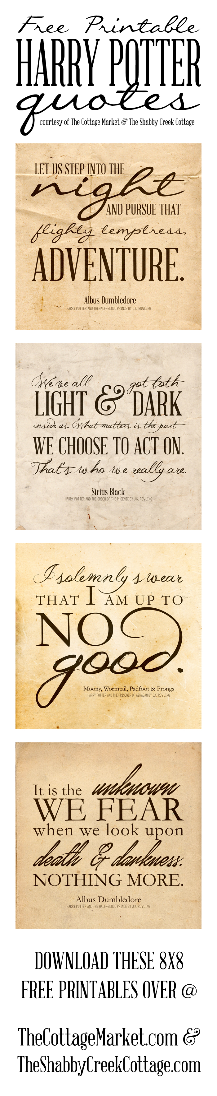 Free Printable Harry Potter Quotes   The Cottage Market - Free Printable Harry Potter Posters