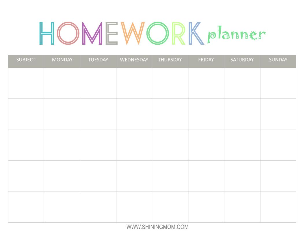 Free Printable: Homework Planner   Top Free Printables   Homework - Free Printable Homework