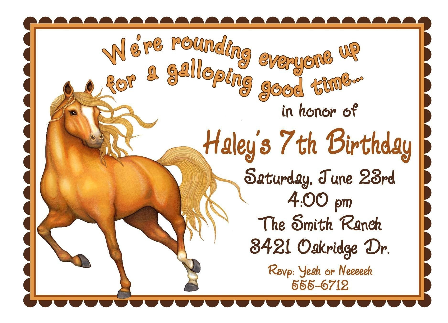 Free Printable Horse Birthday Invitations | Birthday Invitations - Free Printable Horse Themed Birthday Party Invitations