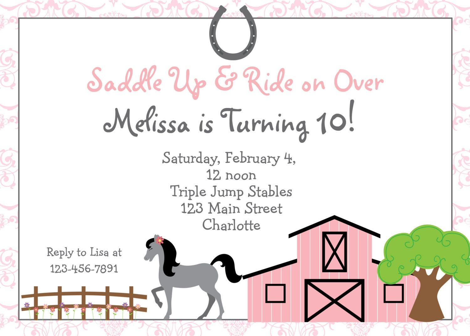 Free Printable Horse Riding Party Invitations | Birthday Invitation - Free Printable Event Invitations