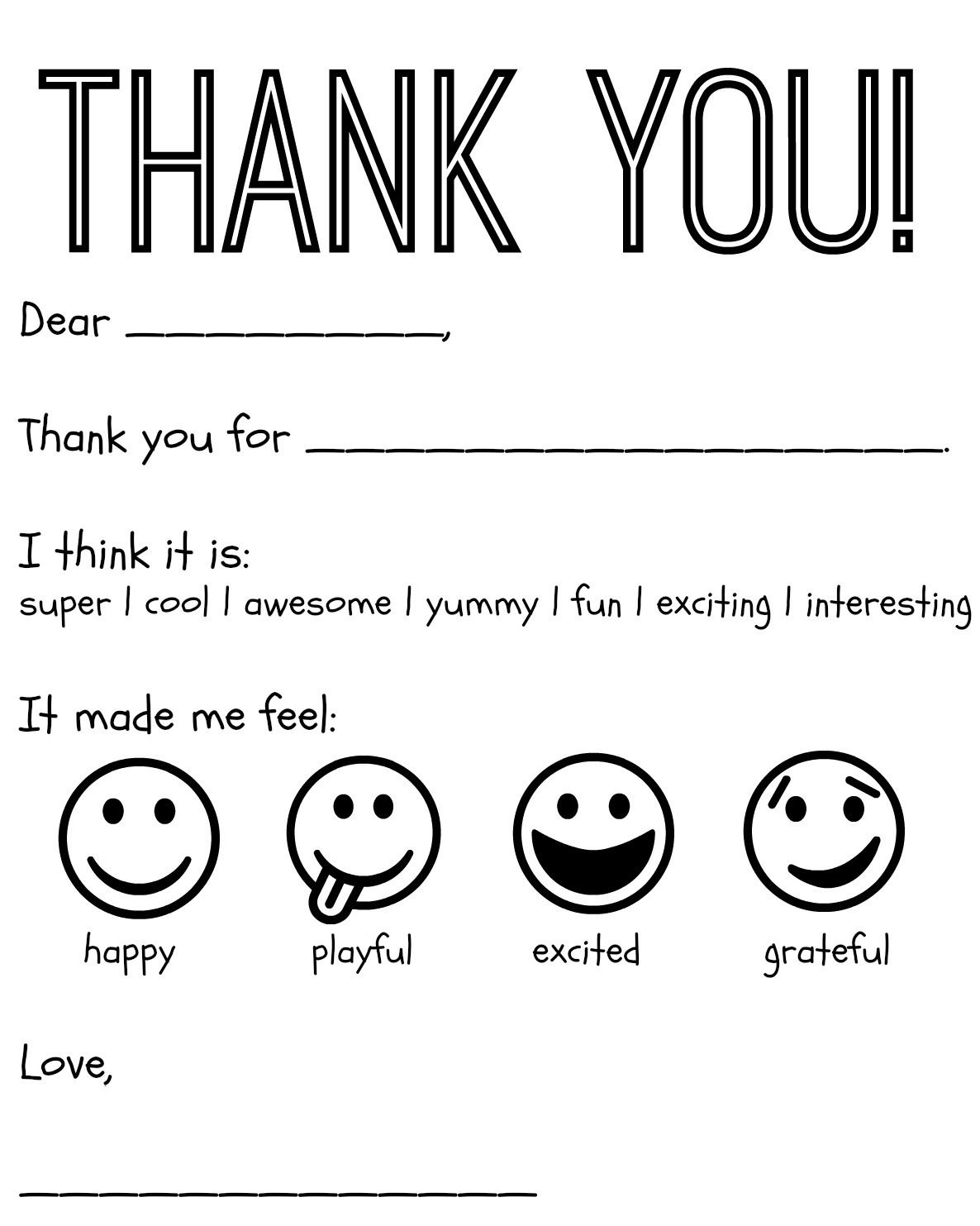 Free Printable Kids Thank You Cards To Color   Thank You Card - Free Printable Thank You Cards For Soldiers